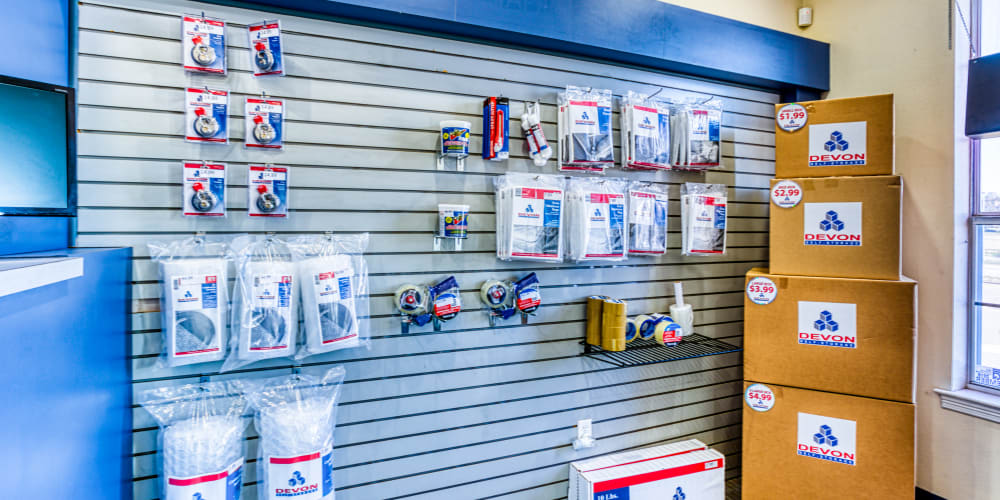 A variety of packing supplies available for purchase at Devon Self Storage in Sherman, Texas