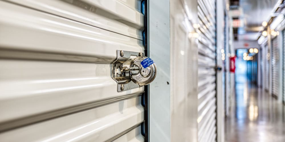 Lock on a self storage unit in Greenville, Texas at Devon Self Storage