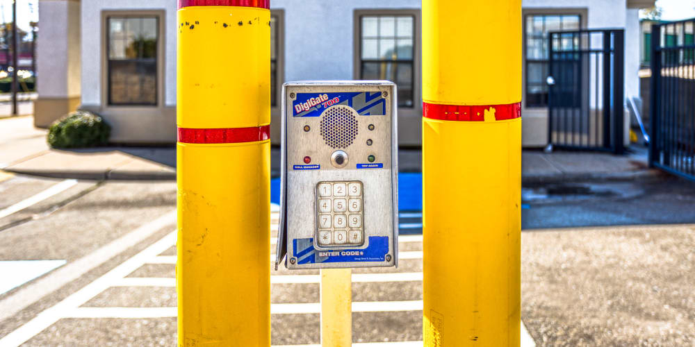 Keypad for gated entry into Devon Self Storage in Sherman, Texas