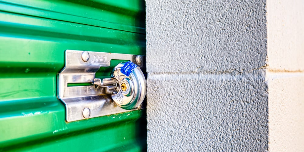 Lock on a self storage unit at Devon Self Storage in Sherman, Texas