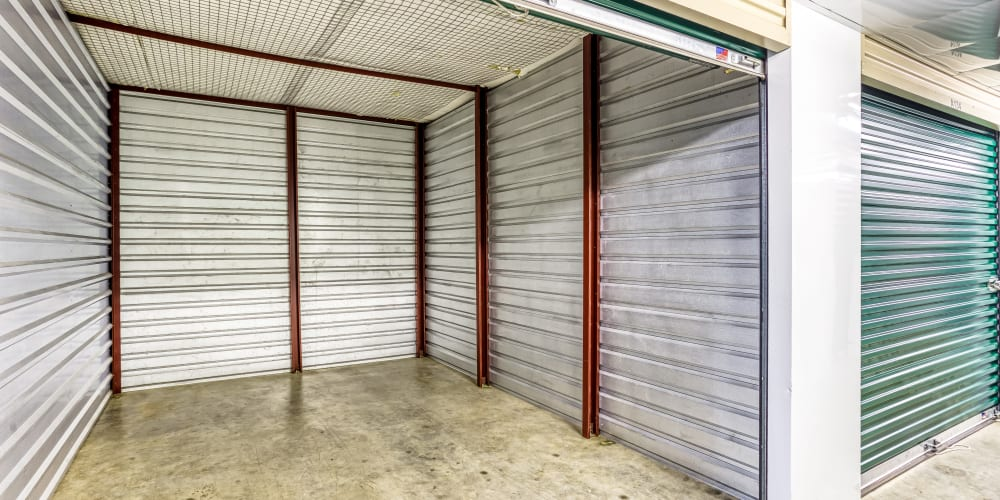 Inside of a climate-controlled storage unit at Devon Self Storage in Sherman, Texas