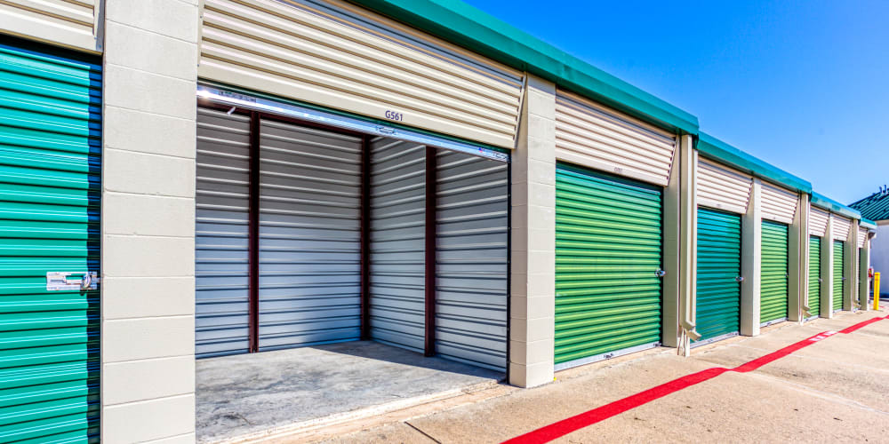 Inside of a self storage unit at Devon Self Storage in Sherman, Texas