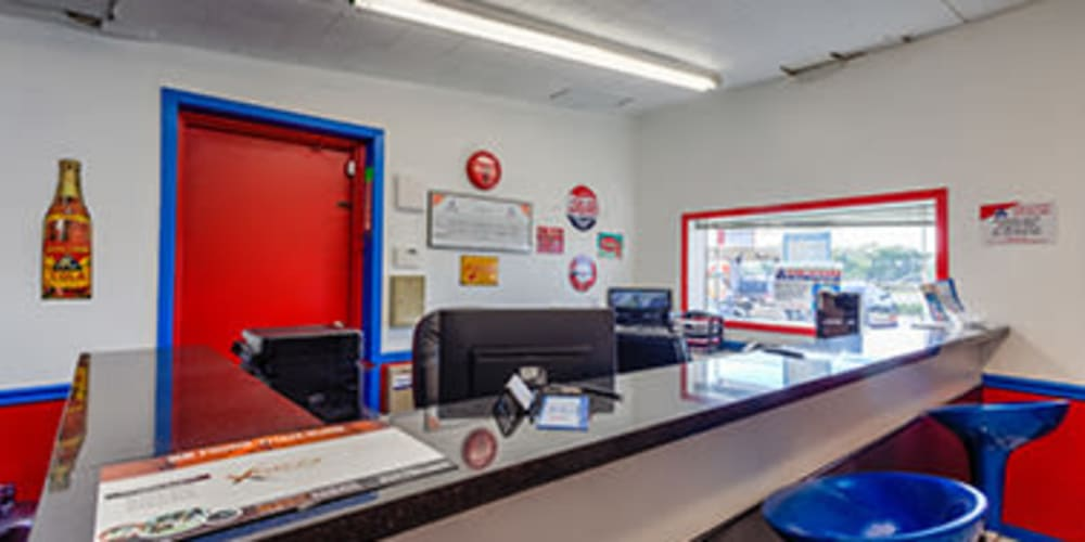 Office and front desk at Devon Self Storage in Seabrook, Texas