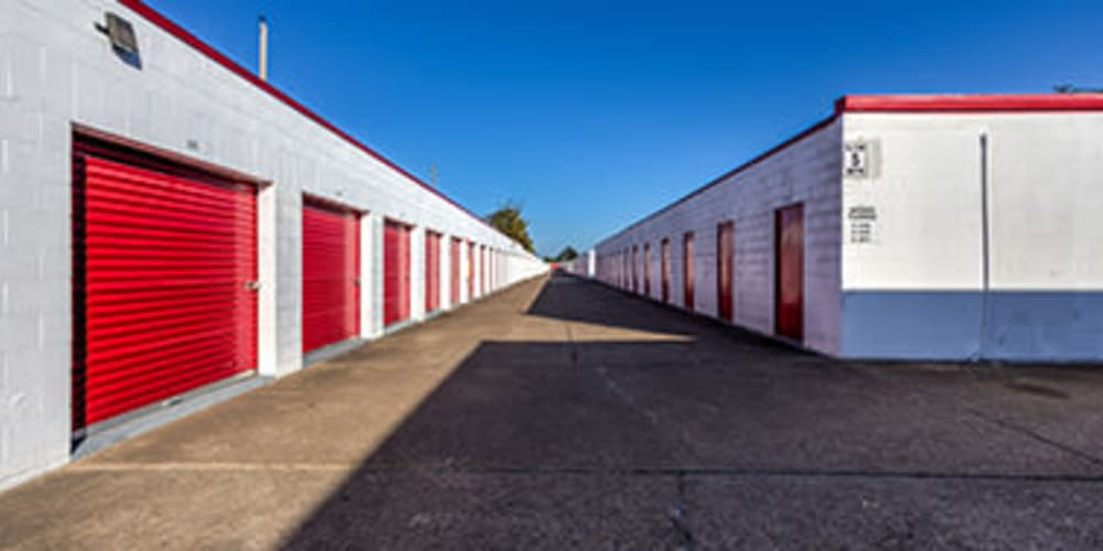 Drive-up storage units at Devon Self Storage in Seabrook, Texas