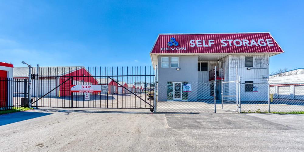Gated entrance to Devon Self Storage in Austin, Texas