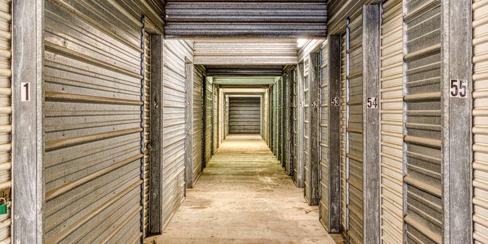 The interior storage units at Devon Self Storage in Austin, Texas