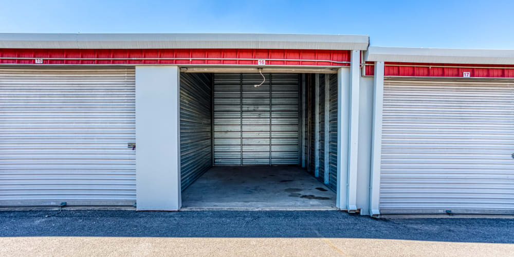 An open drive-up storage unit at Austin, Texas at Devon Self Storage