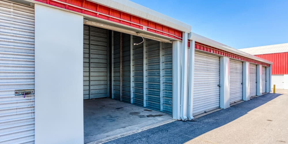 Drive-up storage units at Devon Self Storage in Austin, Texas