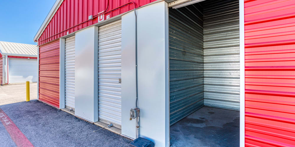 An open drive-up storage unit at Austin, Texas at Devon Self Storage