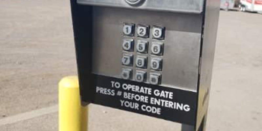 Secure, keypad gate entry at El Paso, Texas at Armadillo Self Storage