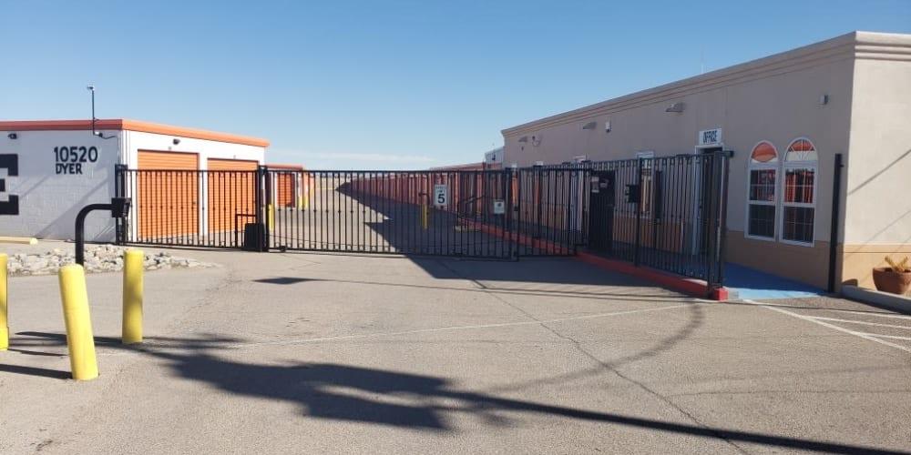 The gated entrance to Armadillo Self Storage in El Paso, Texas