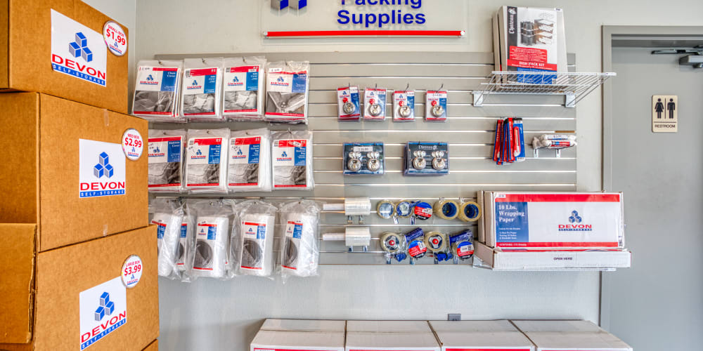 Various packing and moving supplies at Secure Storage in Murfreesboro, Tennessee