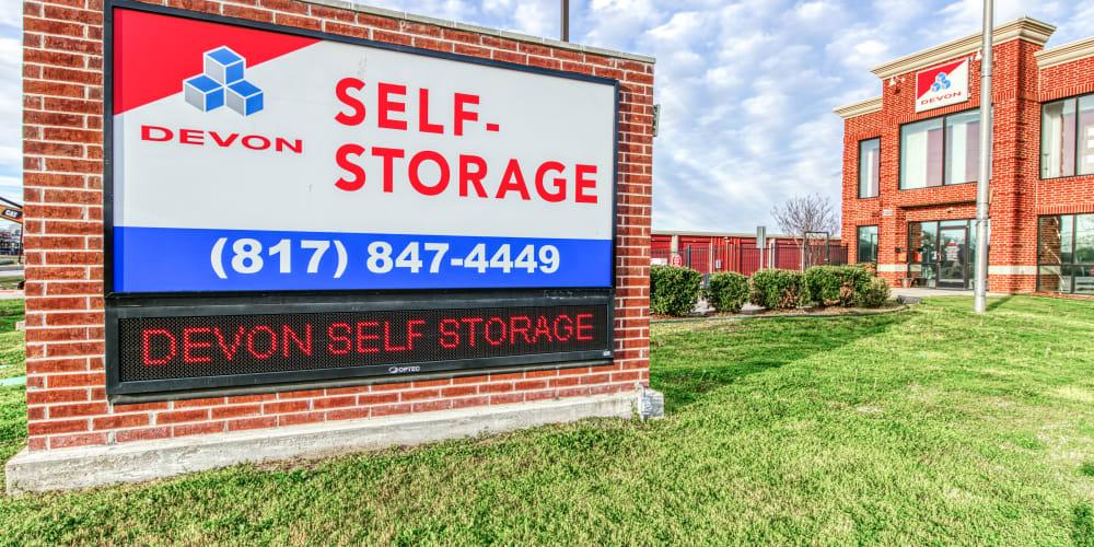Exterior of Devon Self Storage in Fort Worth, Texas