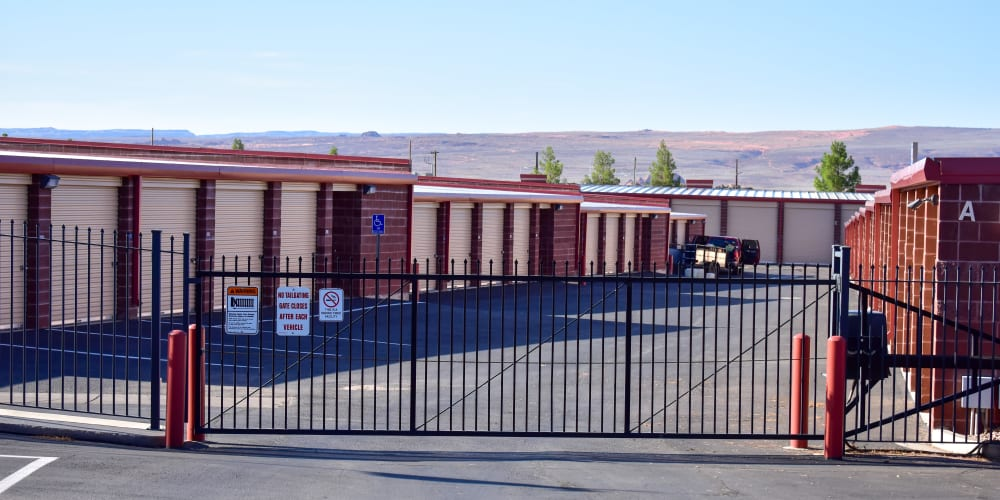 The front gate at STOR-N-LOCK Self Storage in Hurricane, Utah