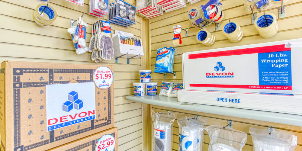 Office supplies for purchase at Devon Self Storage in Memphis, Tennessee