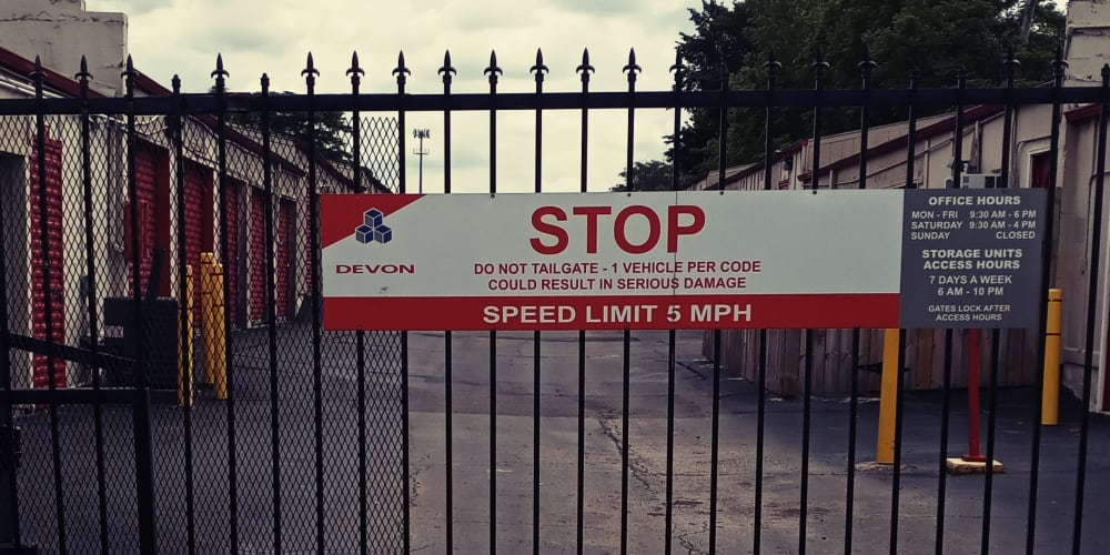 Security gate at Devon Self Storage in Memphis, TN