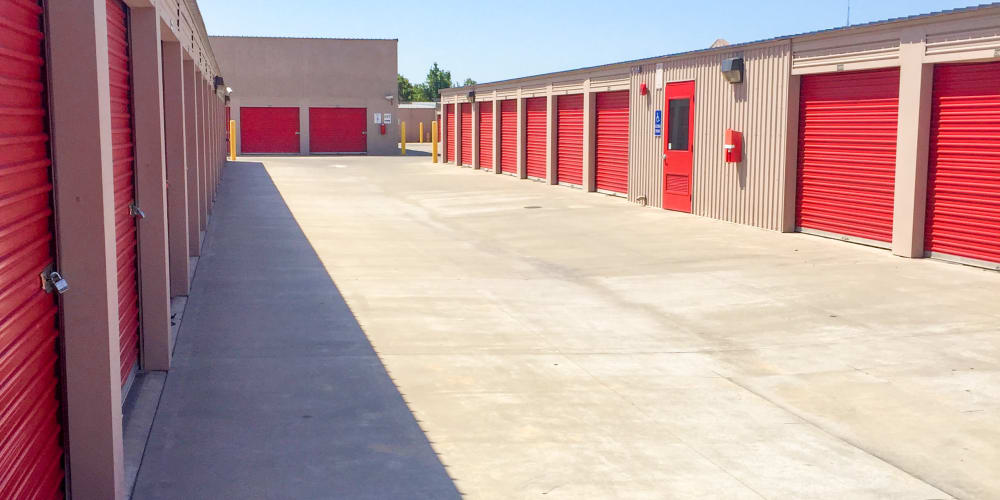 Outdoor storage units available at StorQuest Self Storage in Los Banos, California