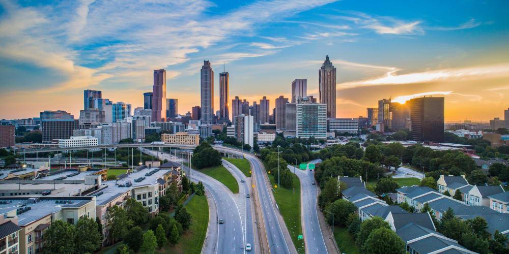 View of downtown against a beautiful sunset near Ellington Midtown in Atlanta, Georgia