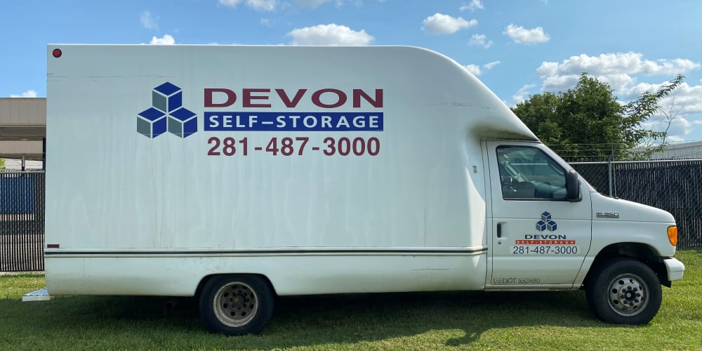 Rental truck at Pasadena, Texas at Devon Self Storage