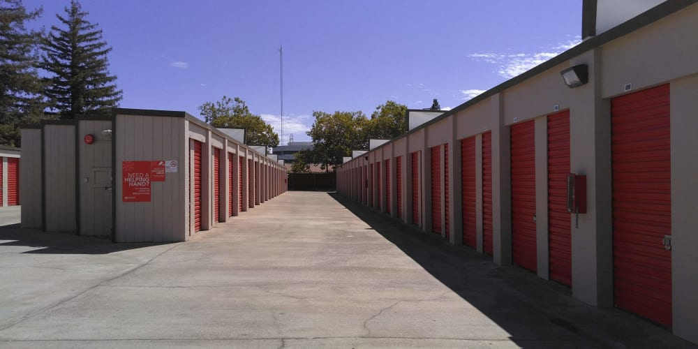 Exterior of outdoor units at StorQuest Express - Self Service Storage in Sacramento, California
