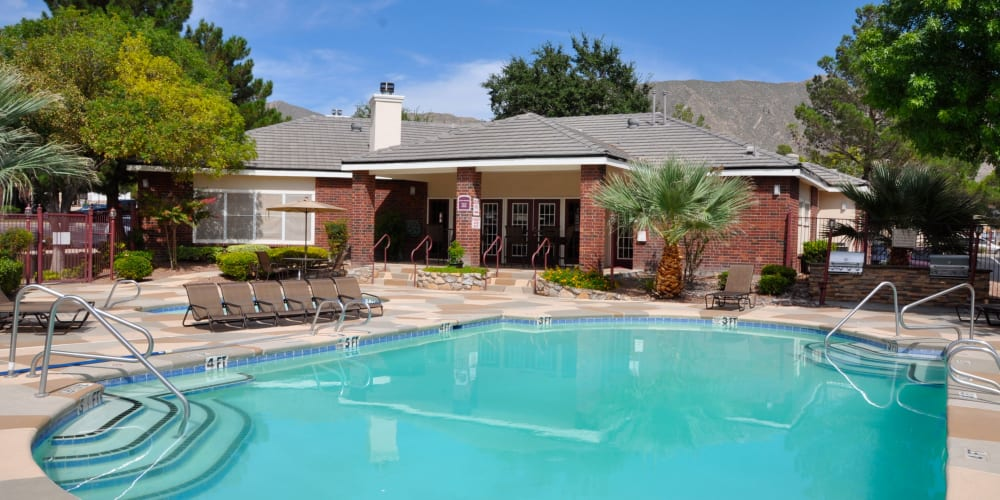 The community pool at The Crest Apartments's business center in El Paso, Texas