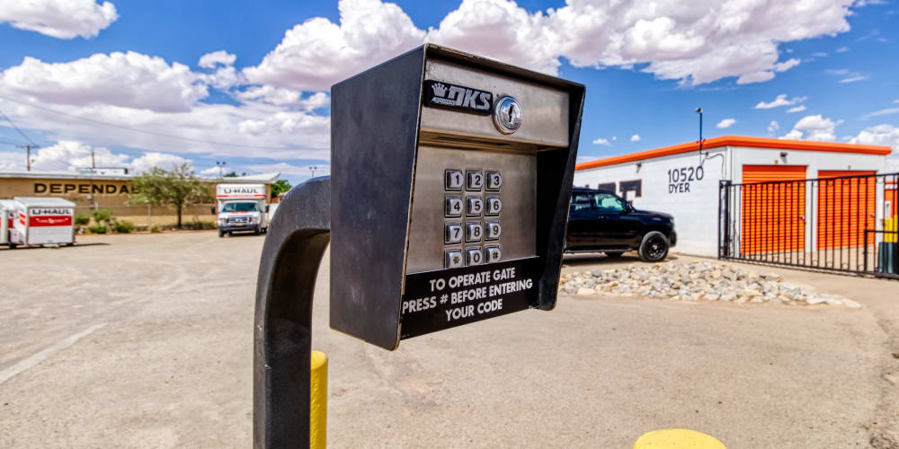 Security keypad at Armadillo Self Storage in El Paso, Texas