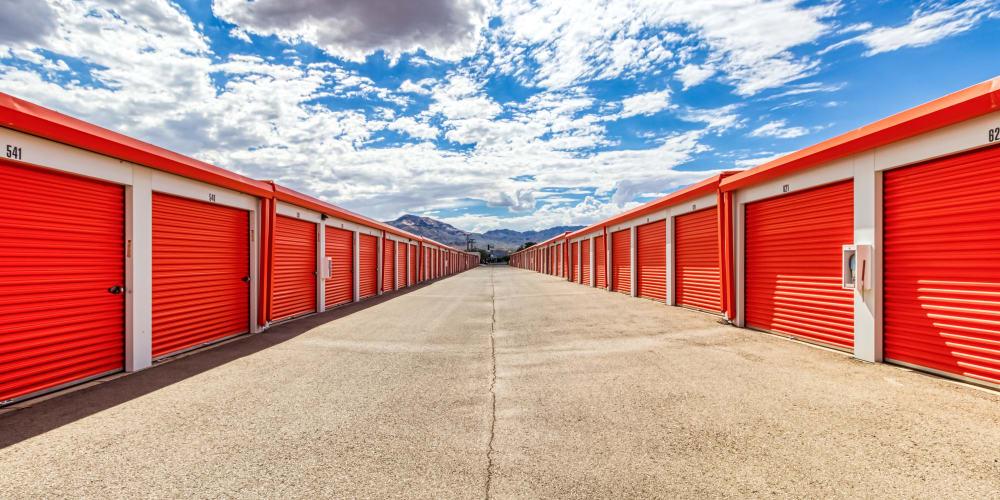 A row of storage units at Armadillo Self Storage in El Paso, Texas