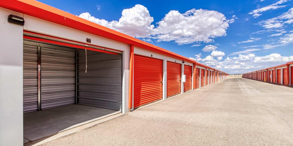 An open storage unit at Armadillo Self Storage in El Paso, Texas
