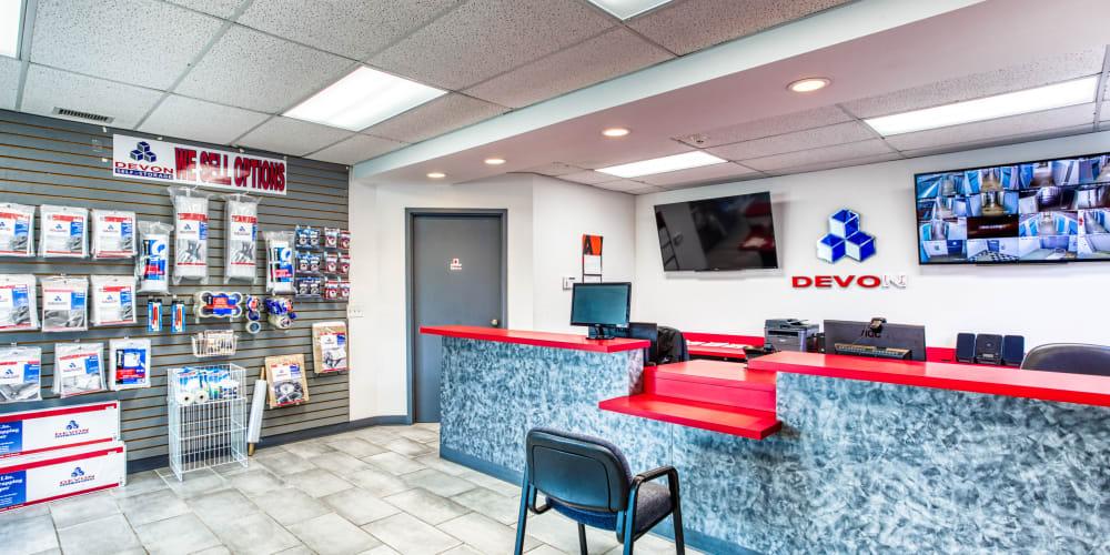 The front desk at Devon Self Storage in Madison, TN