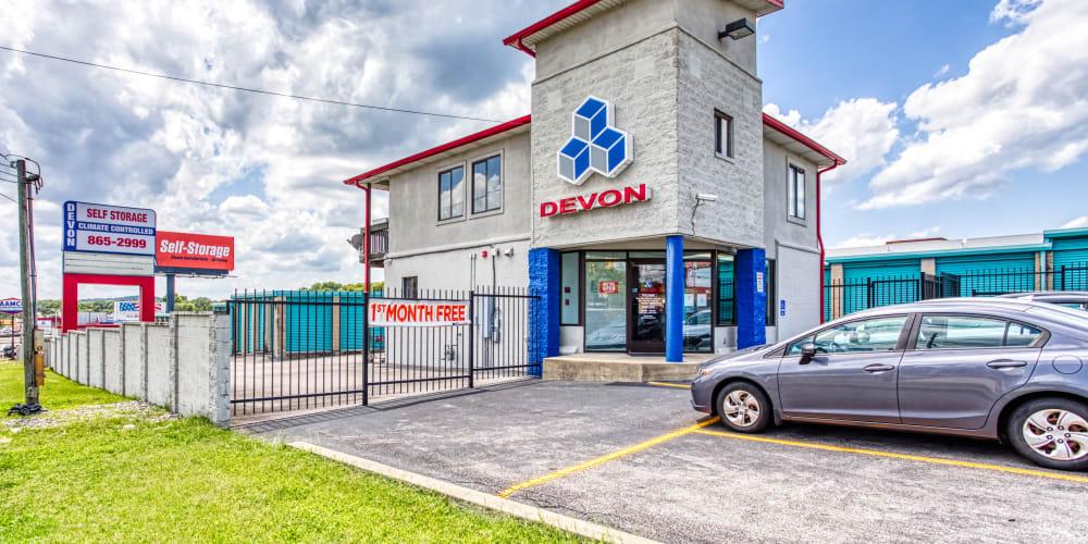 The office exterior at Devon Self Storage in Madison, TN
