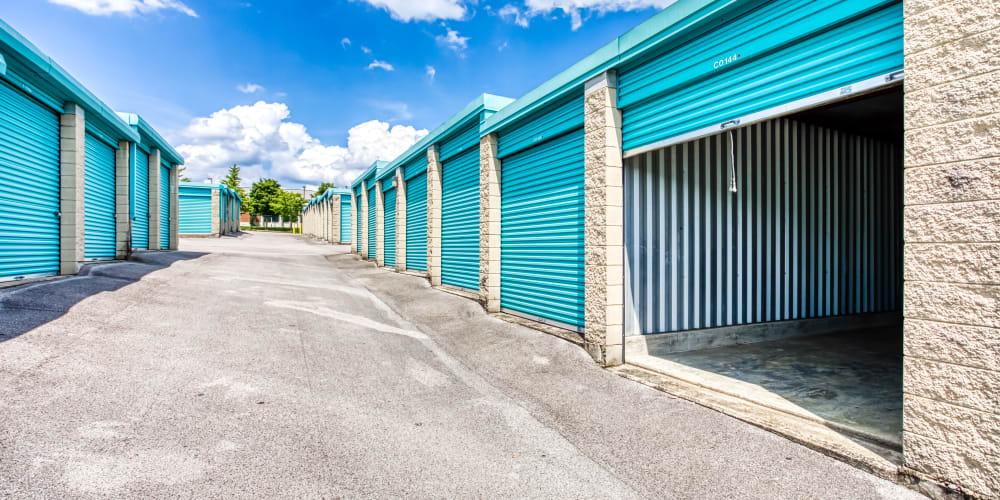 Outdoor storage units at Devon Self Storage in Madison, TN