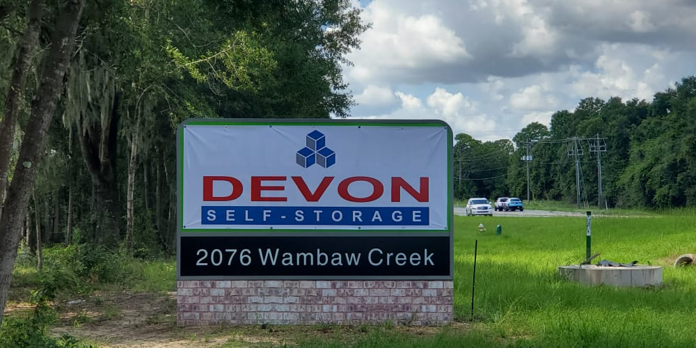 Sign at Devon Self Storage in Charleston, South Carolina