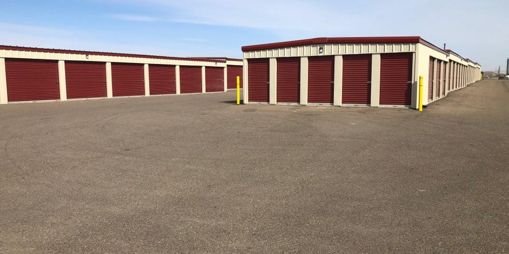 Exterior drive up units at StorQuest Self Storage in Williston, North Dakota