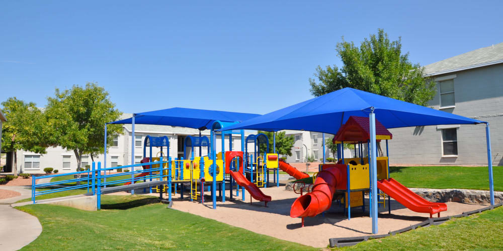 A large playground at The Phoenix Apartments in El Paso, TX