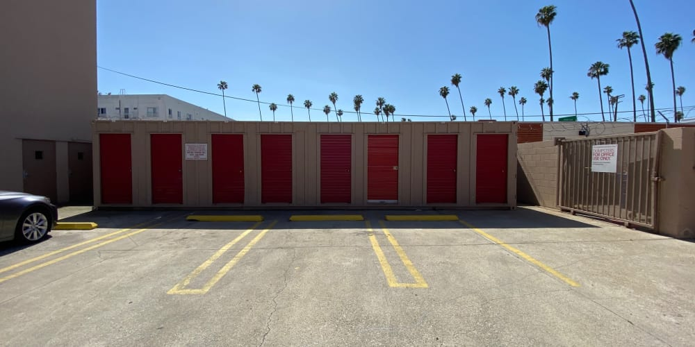 Exterior units with red doors at StorQuest Self Storage in Los Angeles, California