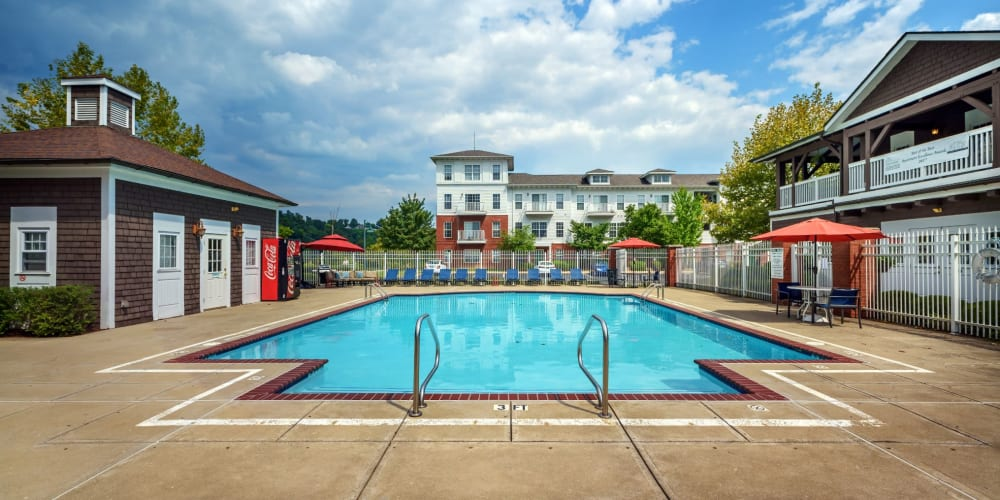 Large swimming pool at The Waterfront Apartments & Townhomes in Munhall, Pennsylvania