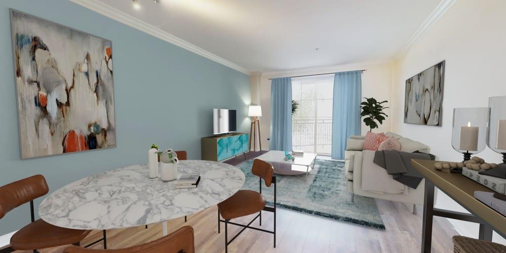 View a floor plan virtual tour at The Villa at Marina Harbor in Marina del Rey, California