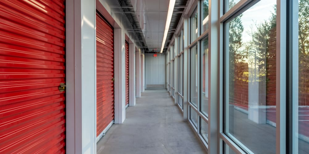 Interior units with red doors at StorQuest Self Storage in Lake Stevens, Washington