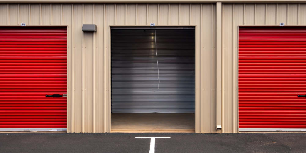 Outdoor units, one with an open door at StorQuest Express - Self Service Storage in Kapolei, Hawaii