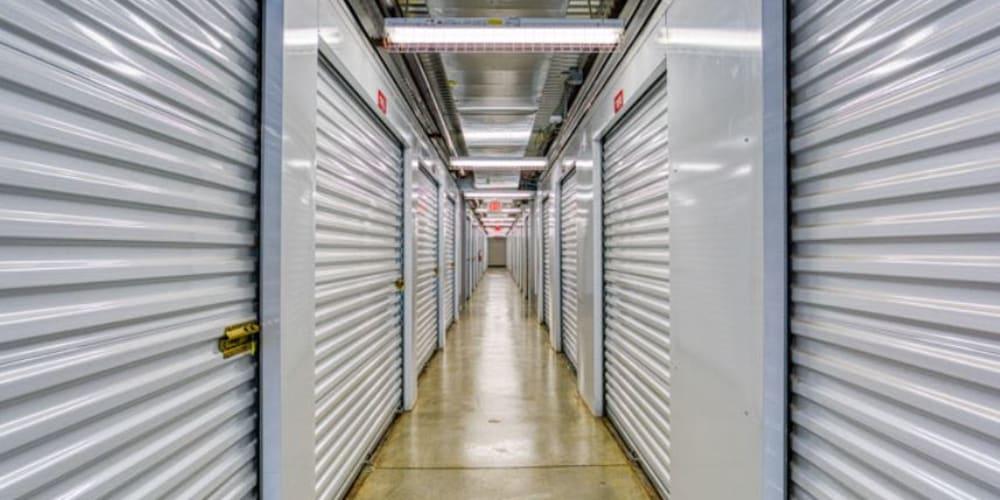 Indoor storage hallway at Devon Self Storage in Pearland, Texas