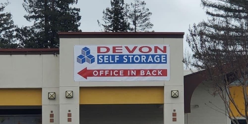 Welcome sign at Devon Self Storage