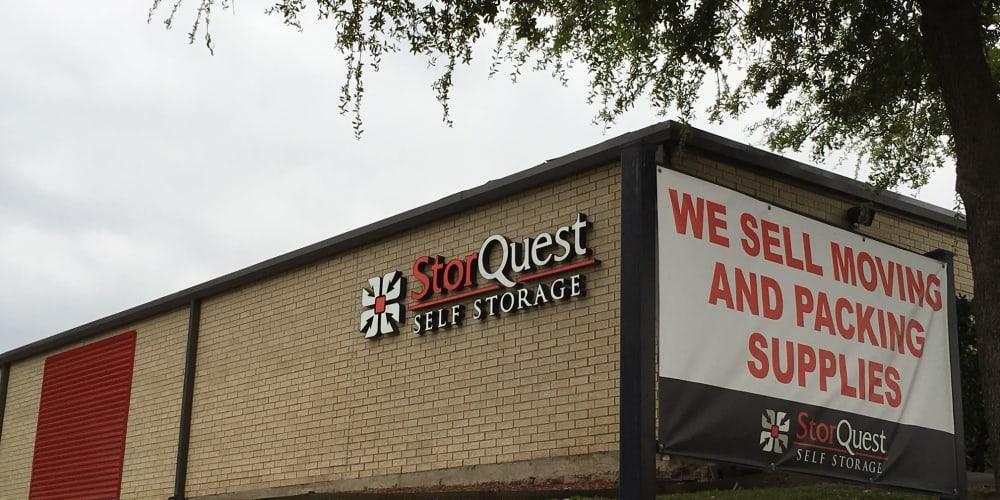 Exterior signage at StorQuest Self Storage in Dallas, Texas