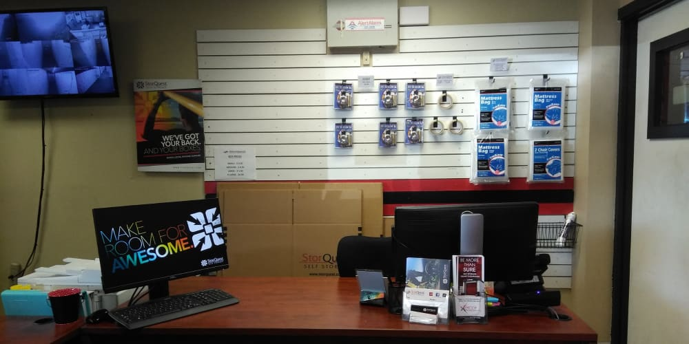 Interior of the leasing office with packing supplies for sale at StorQuest Self Storage in Honolulu, Hawaii