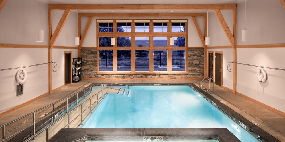 Modern, inviting indoor pool in The Springs at Bozeman in Bozeman, Montana