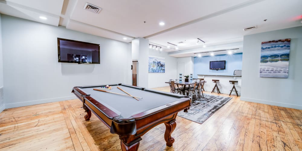 Billiards table in the clubhouse at The Gallery Lofts in Winston Salem, North Carolina