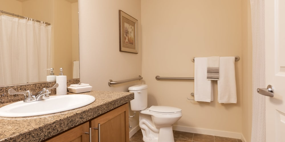 Bathroom in independent living apartment at The Springs at Tanasbourne in Hillsboro, Oregon