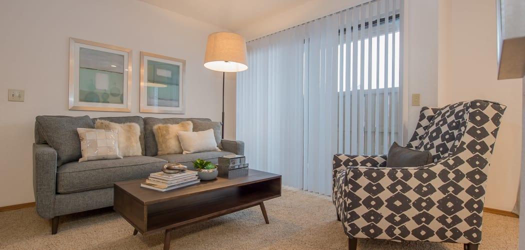 Spacious living room at Warrington Apartments in Oklahoma City, Oklahoma