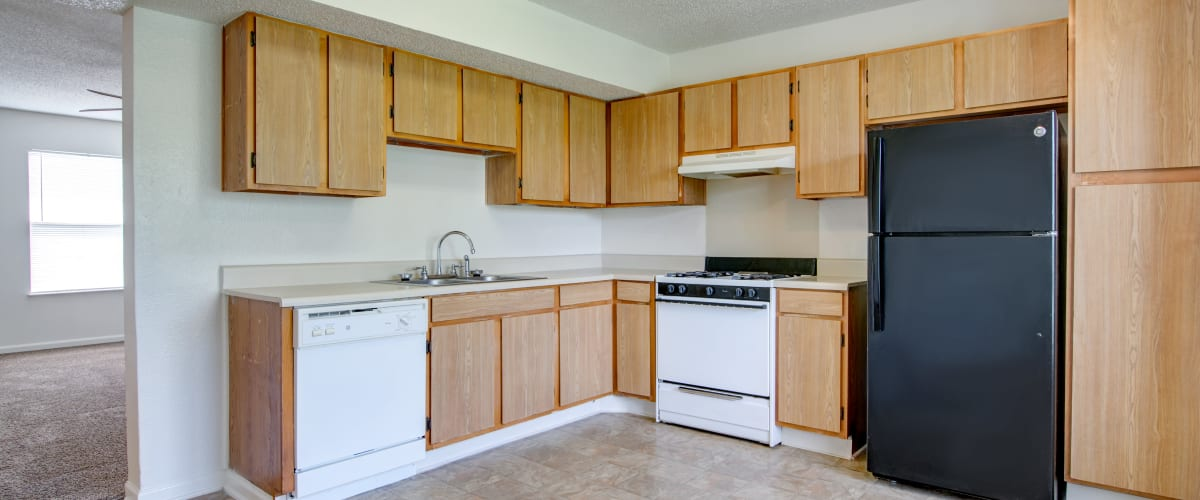 A kitchen with plenty of cabinets at Cedar Ridge in La Vergne, Tennessee
