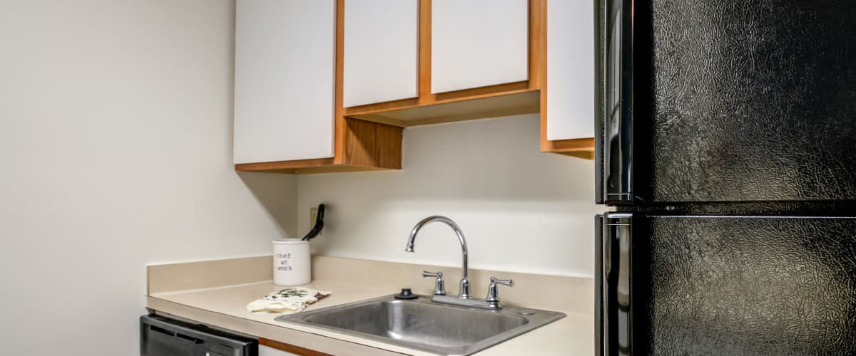 A kitchen with a stainless-steal sink at The Vinings at Christiana in Newark, Delaware