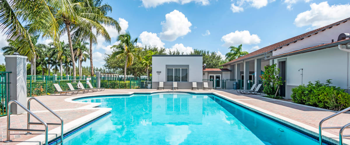 The swimming pool at Cedar Grove Apartments in Miami Gardens, Florida